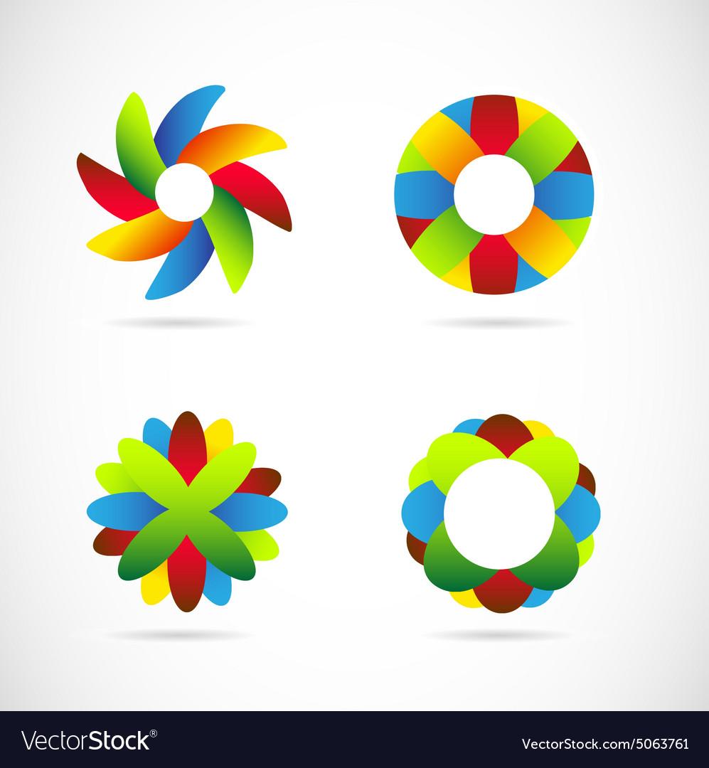 Colored logo icon elements set