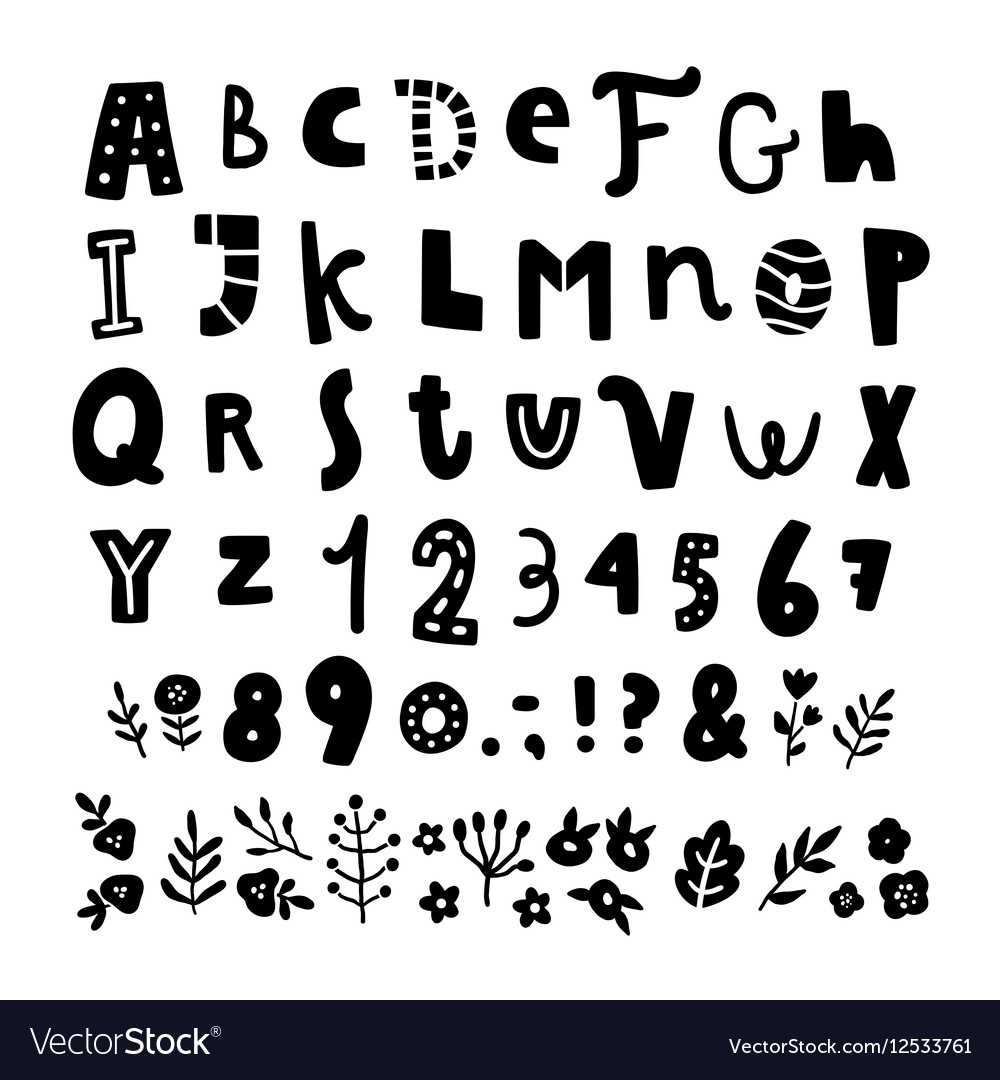 Cute funny hand drawn font and floral elements