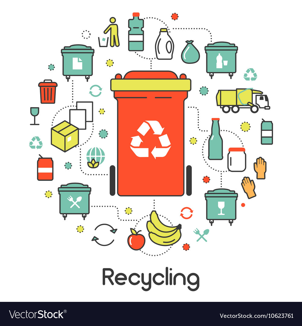 Garbage Waste Recycling Line Art Thin Icons