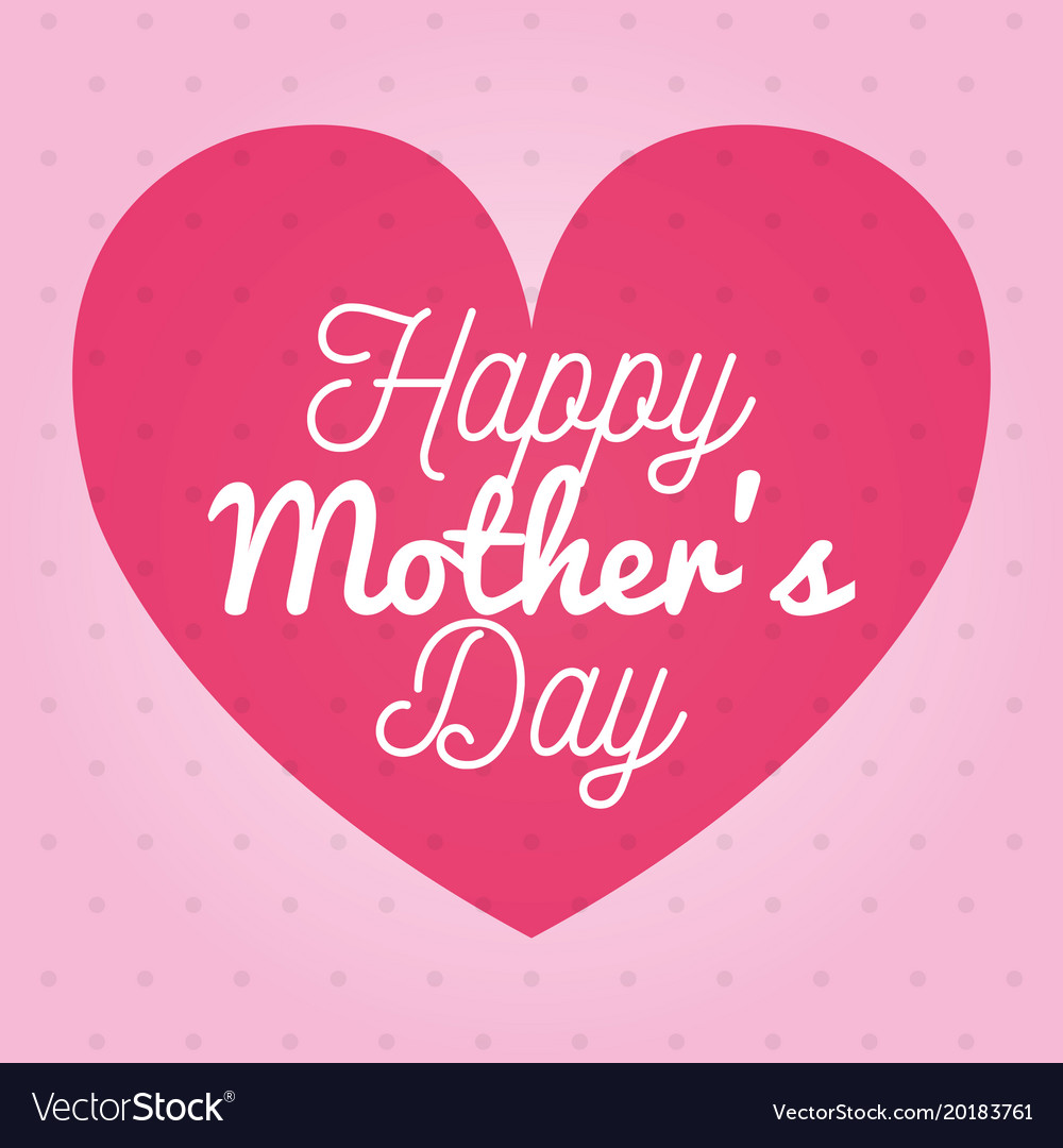 Happy mothers day card with heart and floral