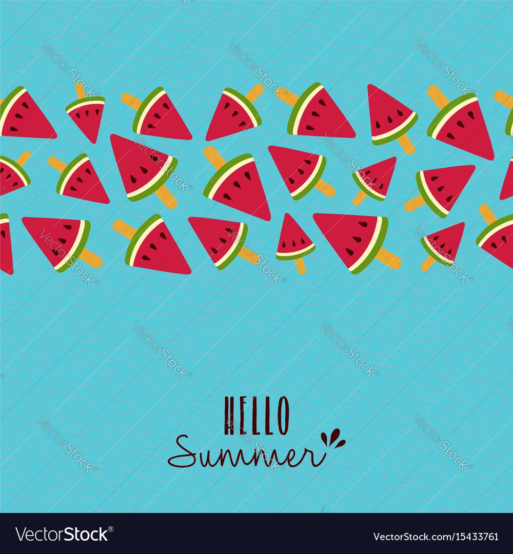 Hello summer quote watermelon pattern card design