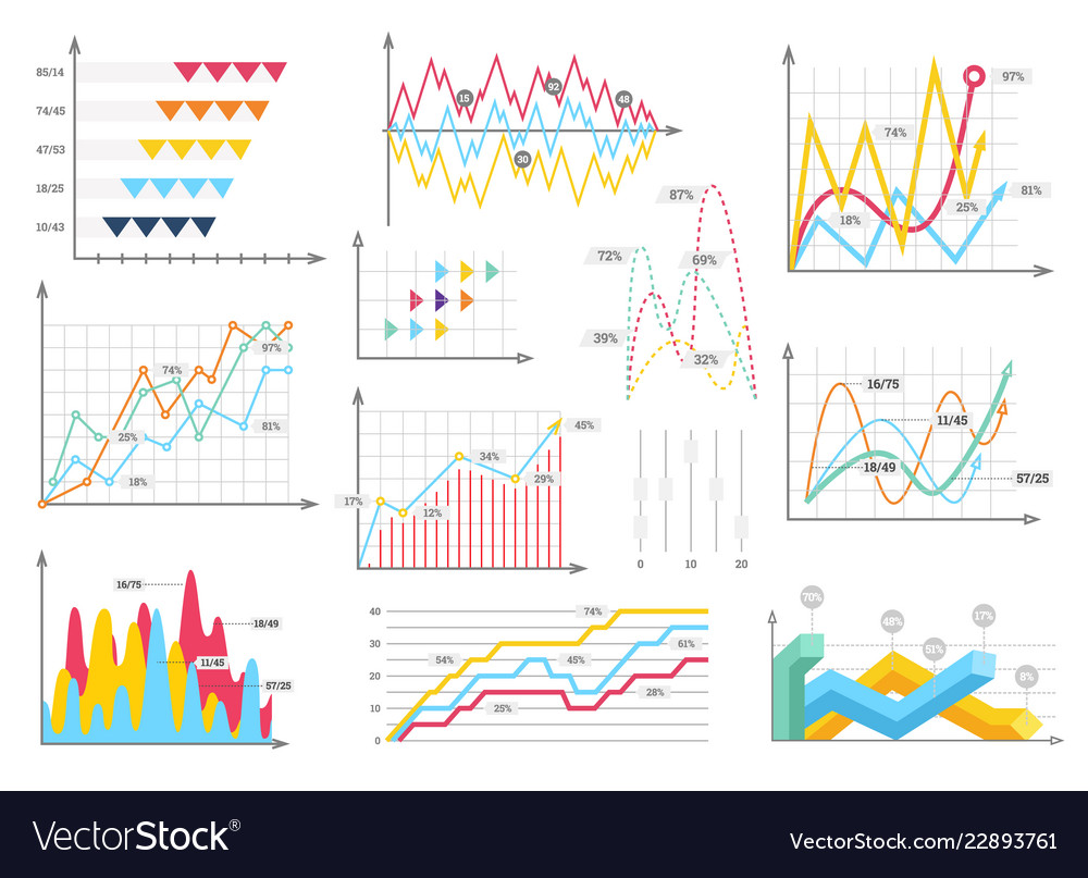 Infographic charts elements - bar and line charts