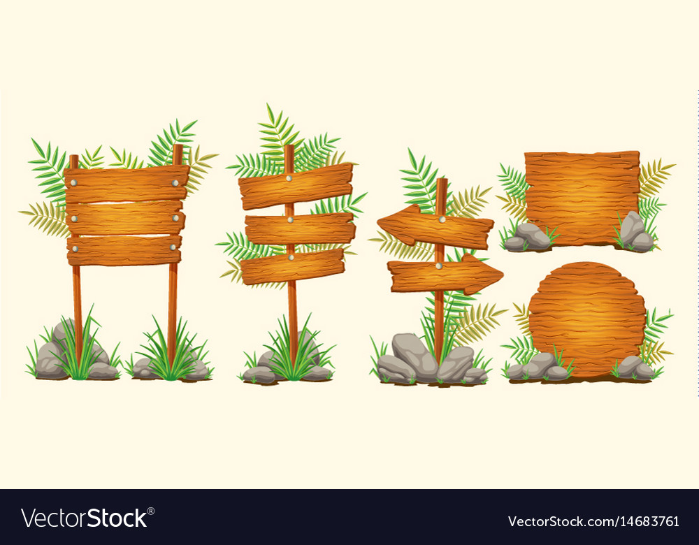 Set of cartoon wooden signs of various