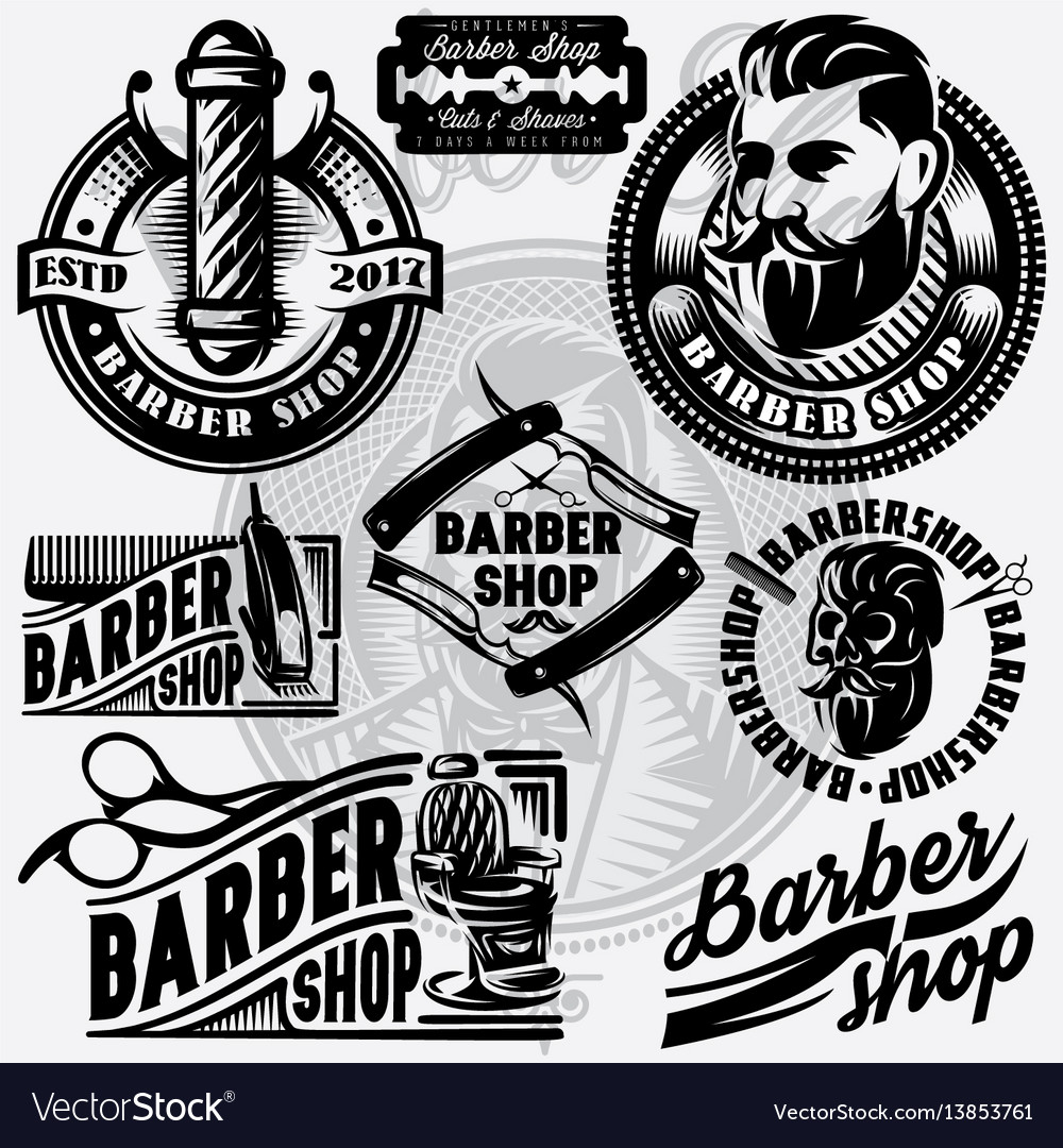 Set of templates for barbershop barbershop logo