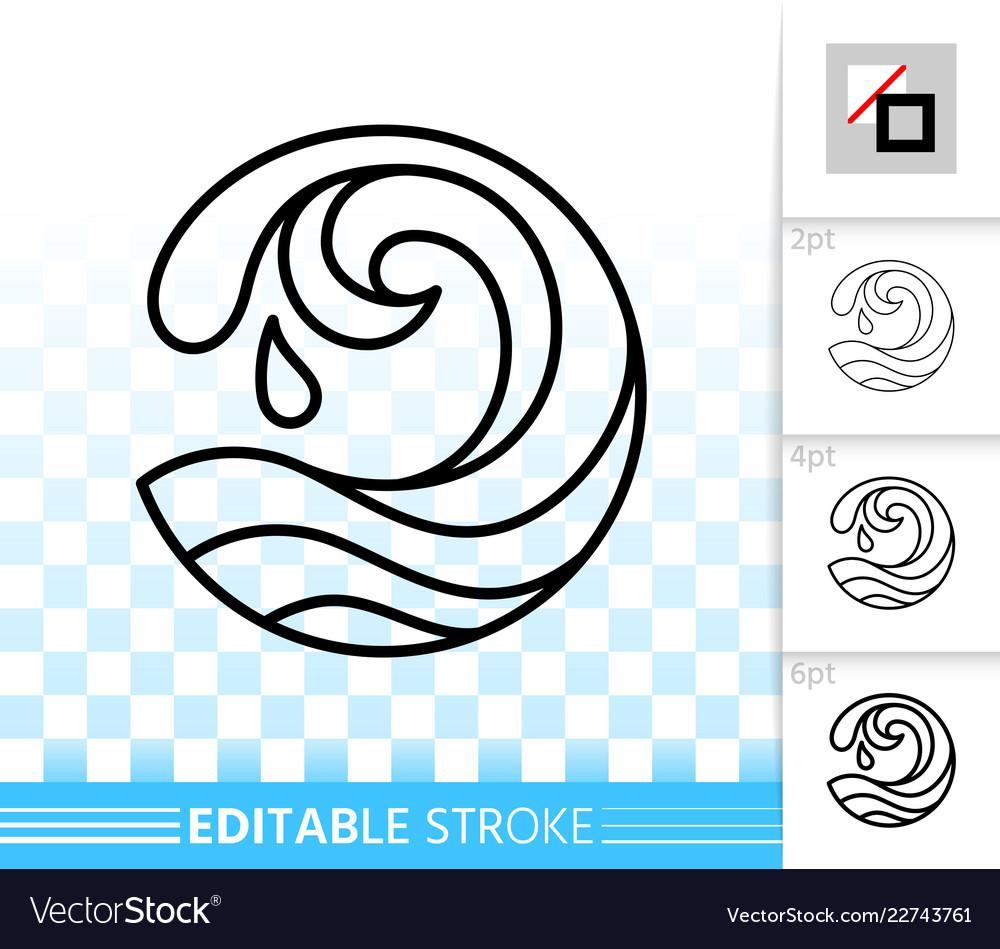 Wave sea simple black thin line splash icon