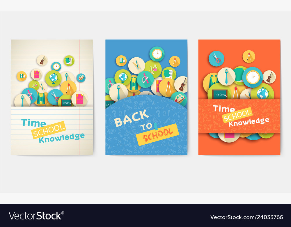 Back to school information pages set brochures