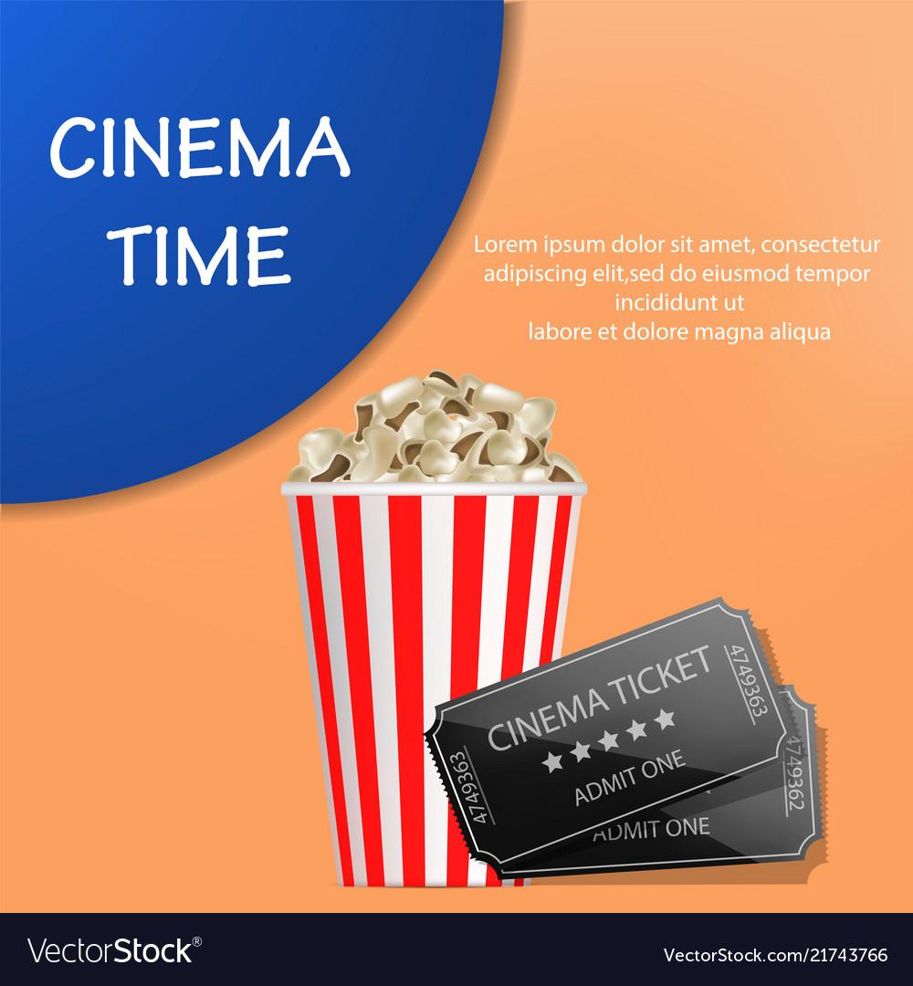 Cinema time popcorn concept background realistic