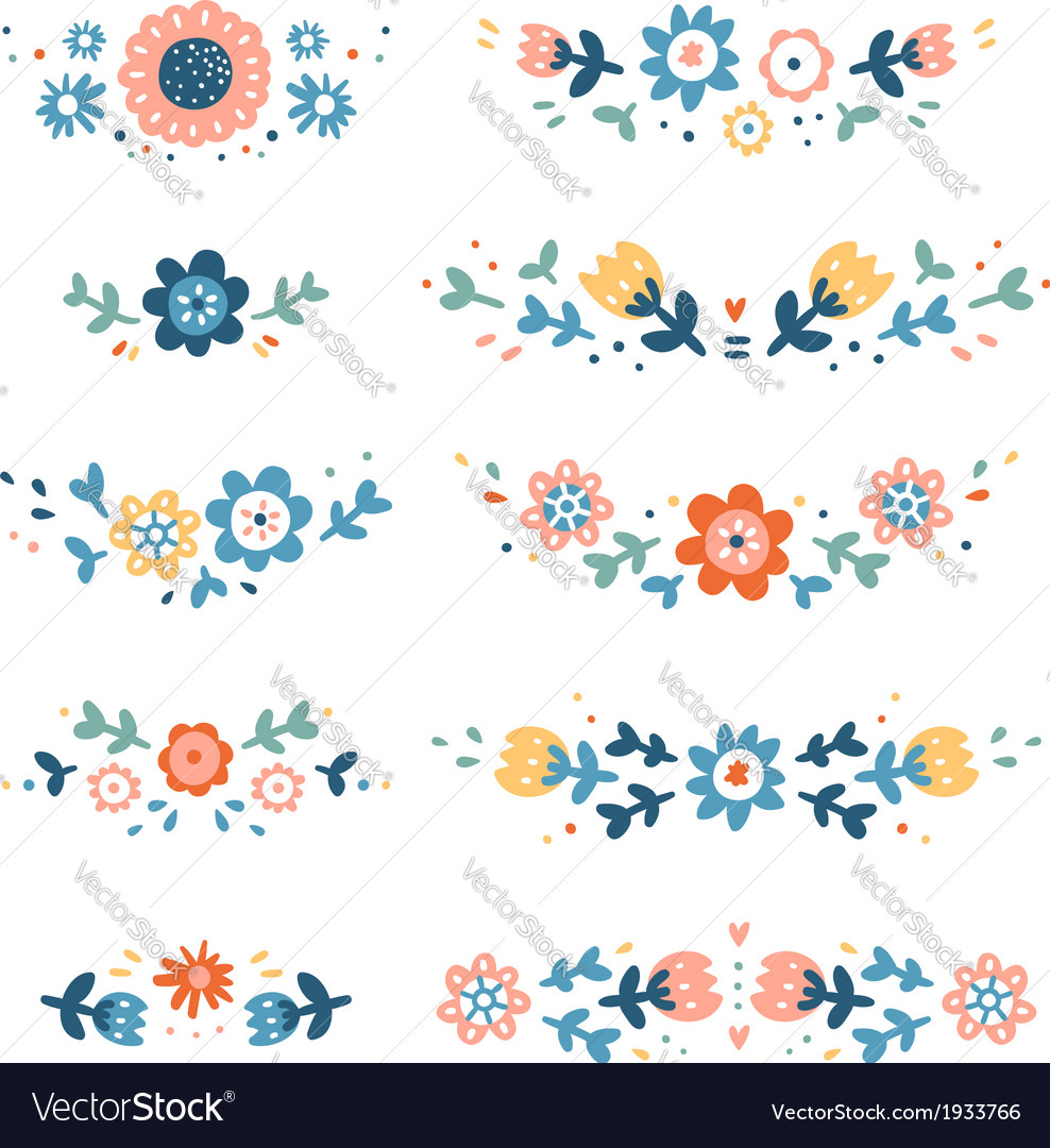 Decorative colorful floral compositions