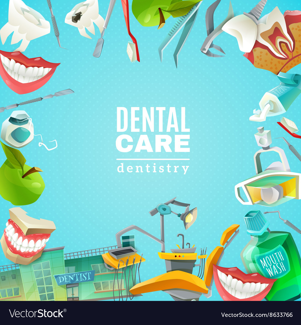 Dentals Care Flat Frame Background poster