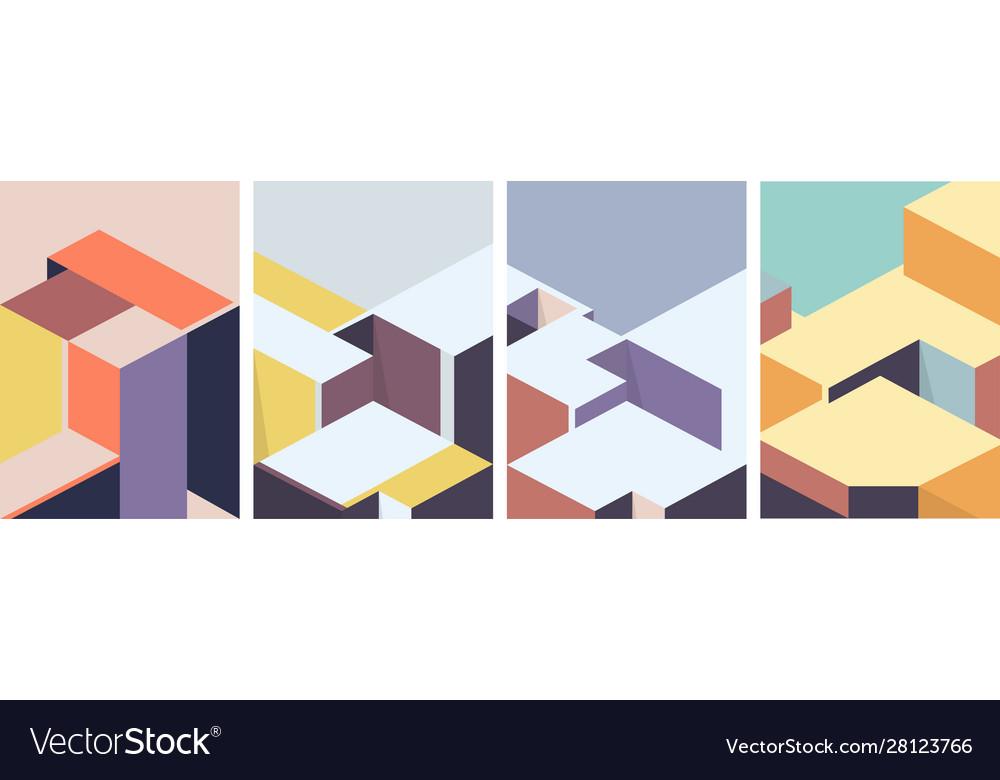 Isometric architectural cover design geometric