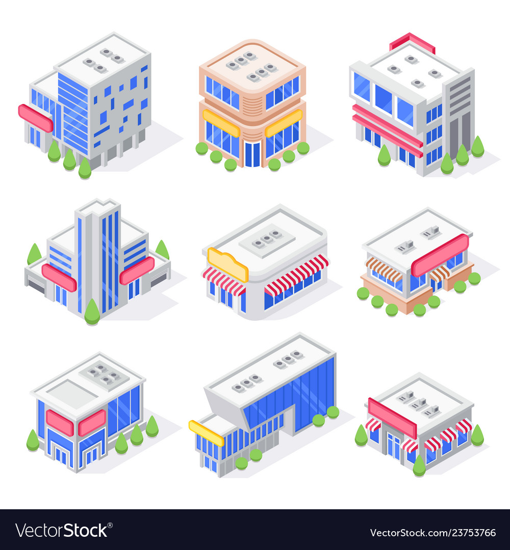 Mall store isometric buildings shop exterior