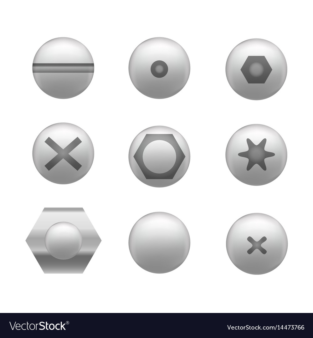 Realistic screw cap icon set different shapes