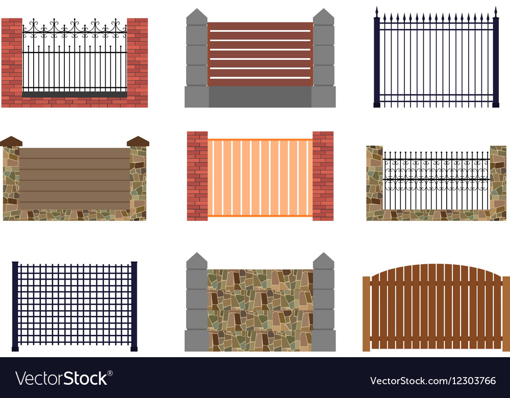 Set of flat fences for infographics