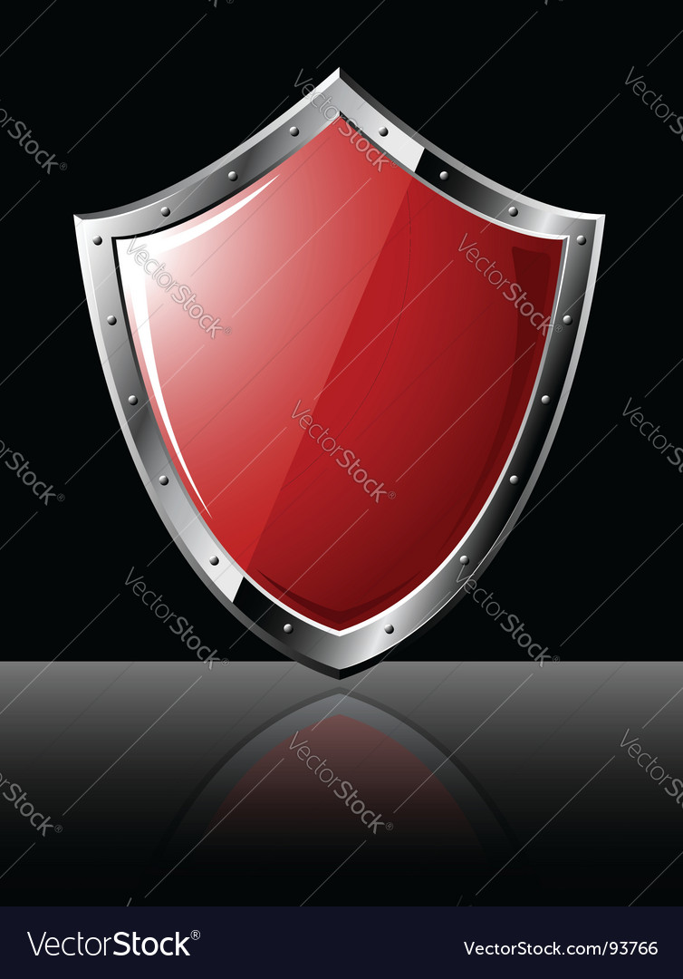 Steel shield isolated on black vector image