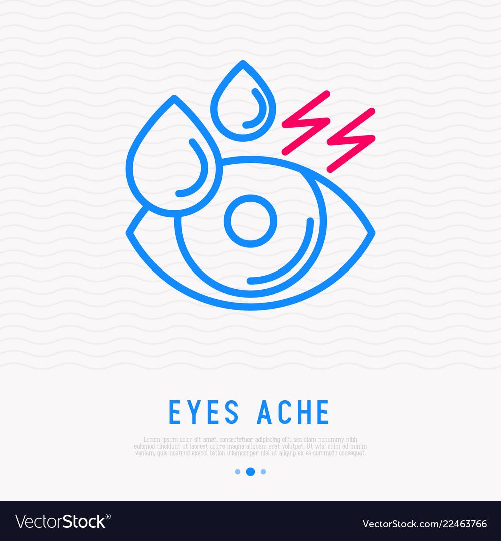 Tears in eye dryness thin line icon