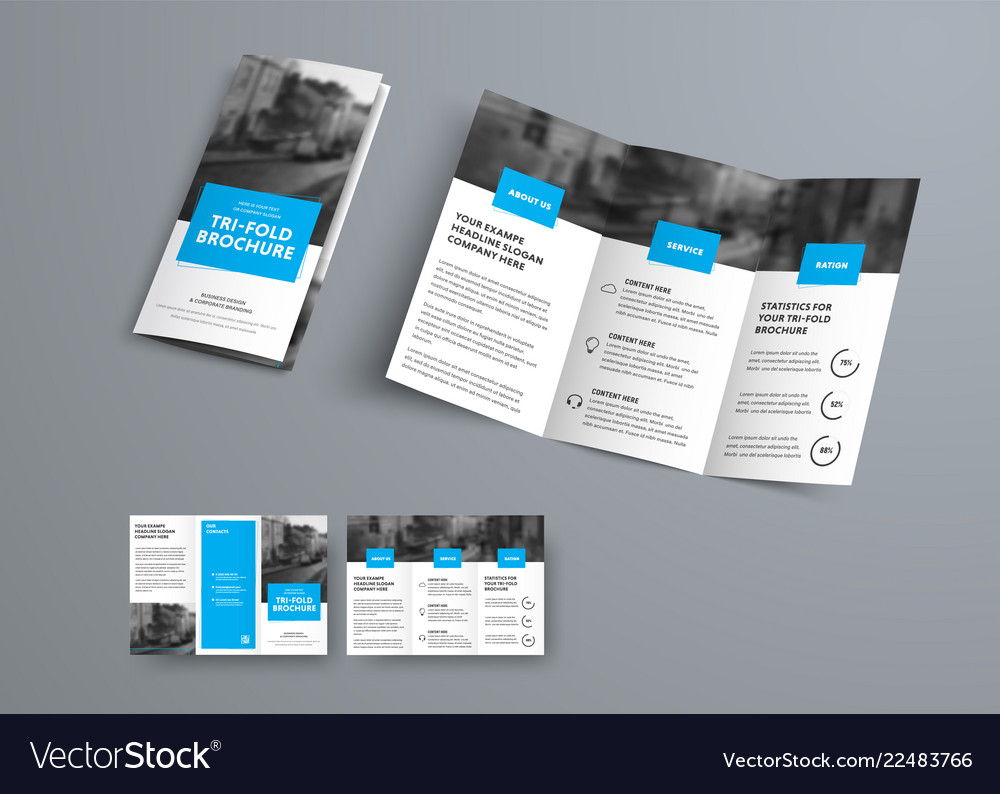 Tri Fold Brochure Template With Blue Rectangular Vector Image