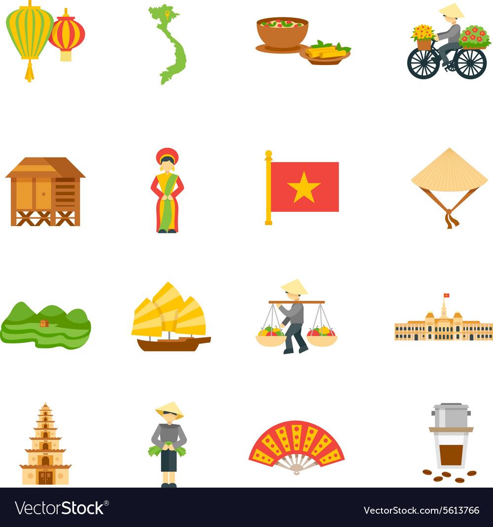 Vietnam Icons Set vector image