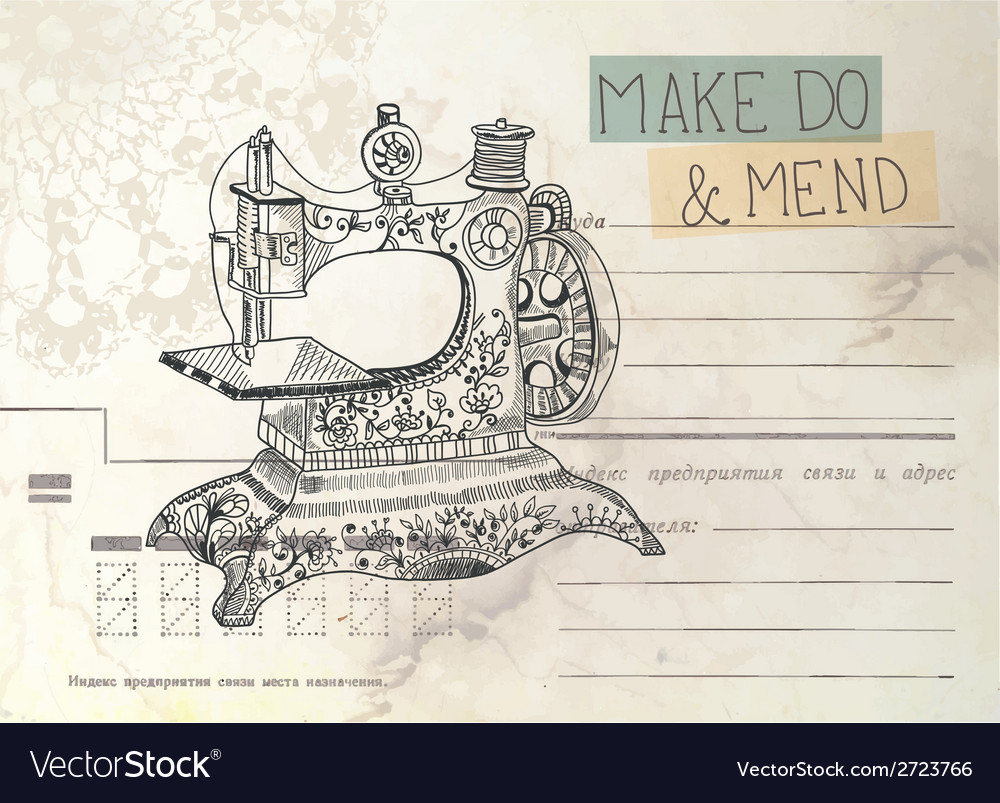 Vintage envelope with old sewing machine vector image