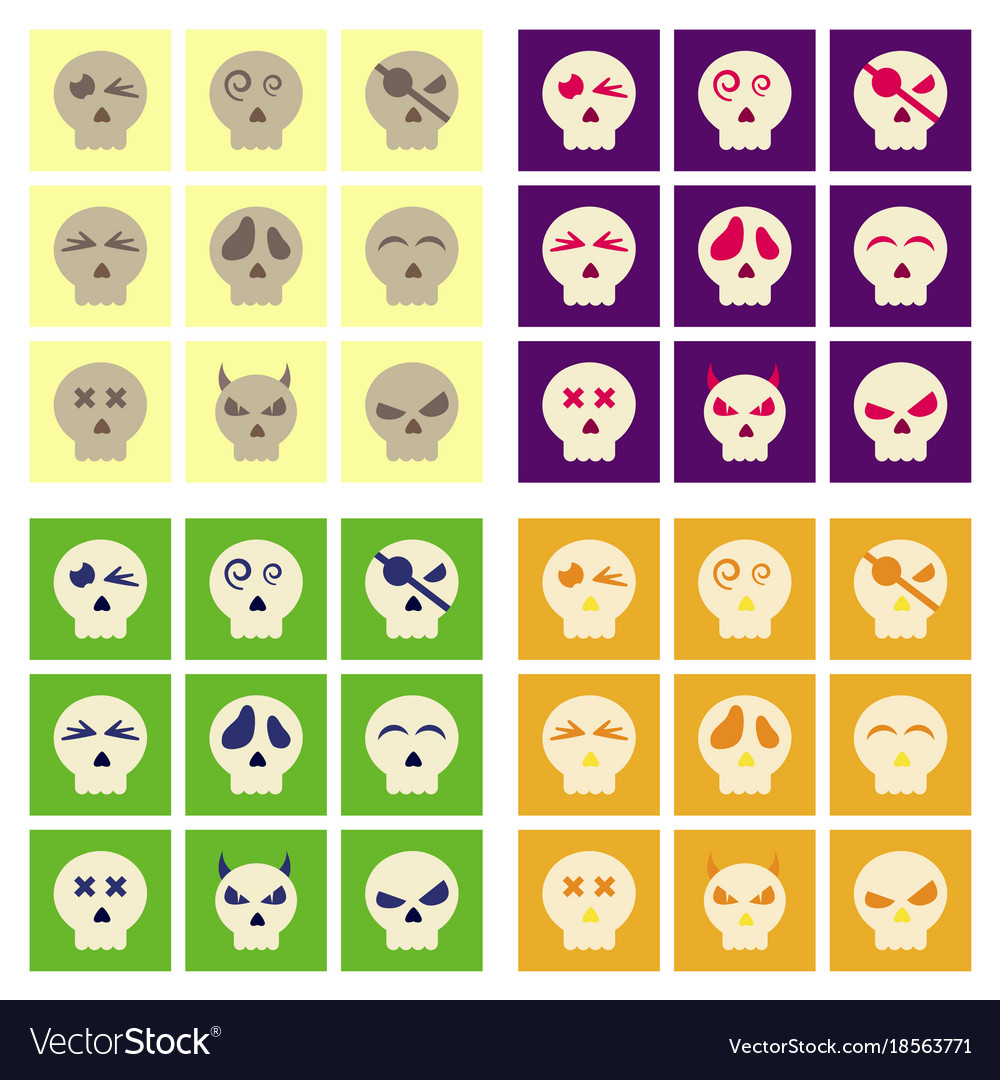 seamless pattern with color skulls and spider