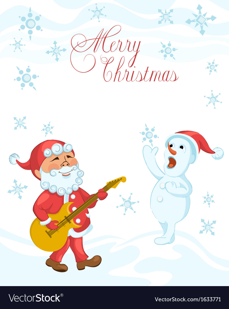 Christmas cartoon card with playing the guitar San