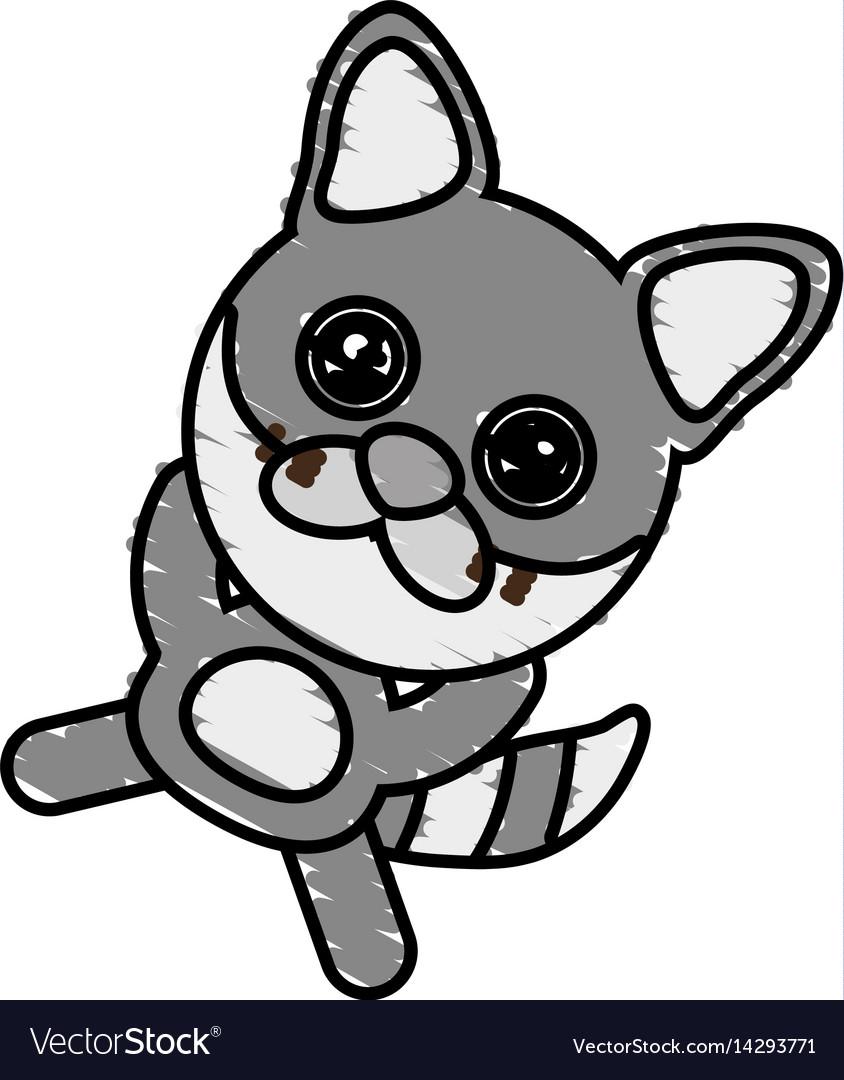drawing raccoon animal character royalty free vector image