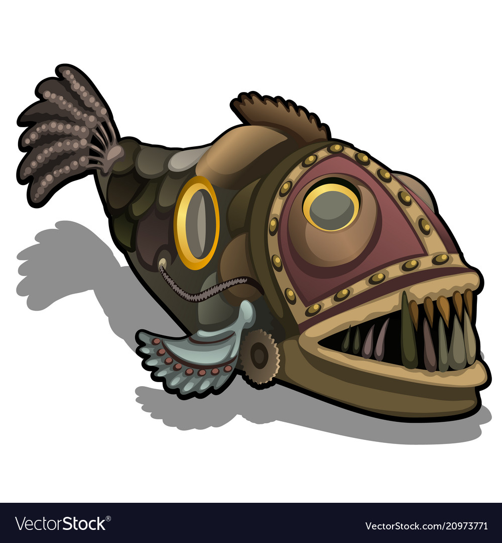 Fangtooth fish in the style of steam punk isolated