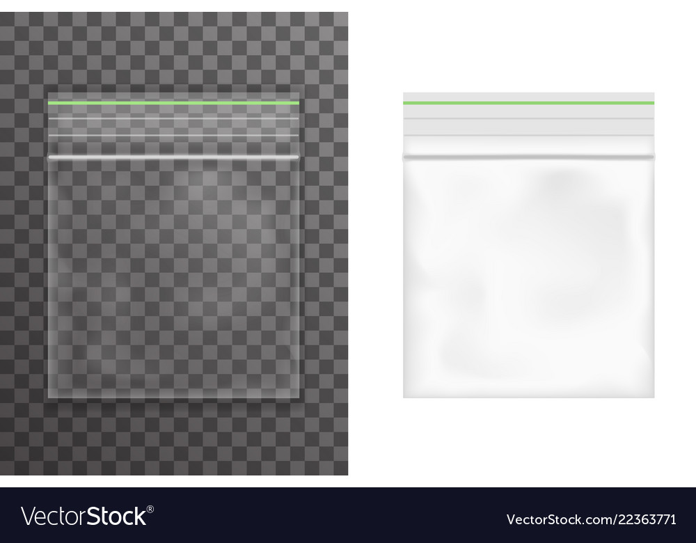 Food empty plastic packaging bag icon set