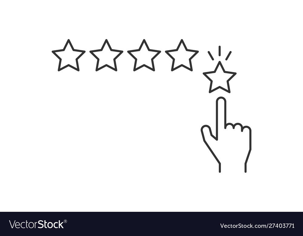 Hand giving five star rating line icon on white