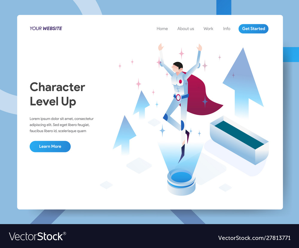 Landing page template character level up