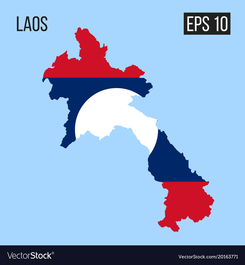 Laos map border with flag eps10 vector image