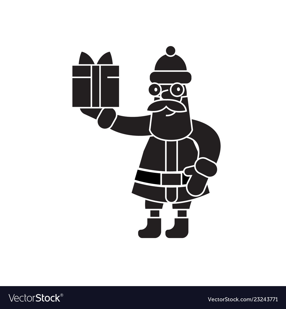 Santa claus with a gift black concept icon