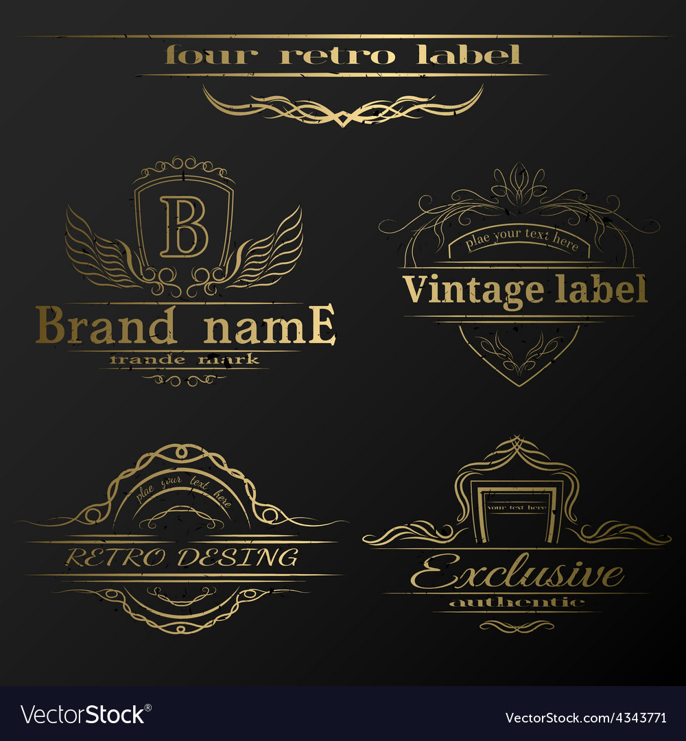 Set of vintage gold labels