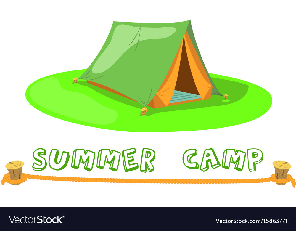 Summer camp tent on green lawn camp tent