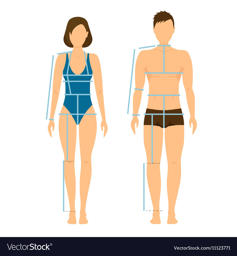 Woman and Man Body Front Back for Measurement
