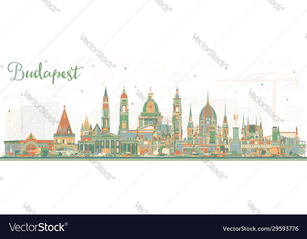 Budapest hungary city skyline with color buildings