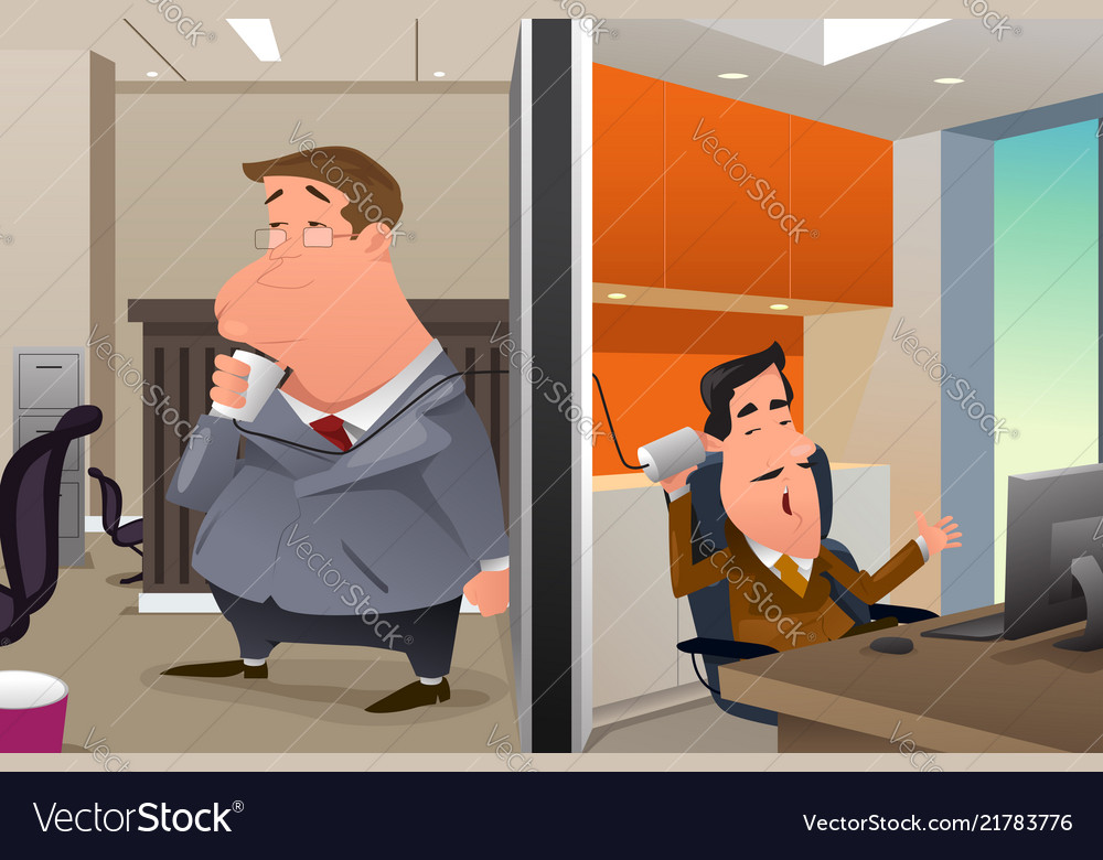 Businessmen talking using a string can phone