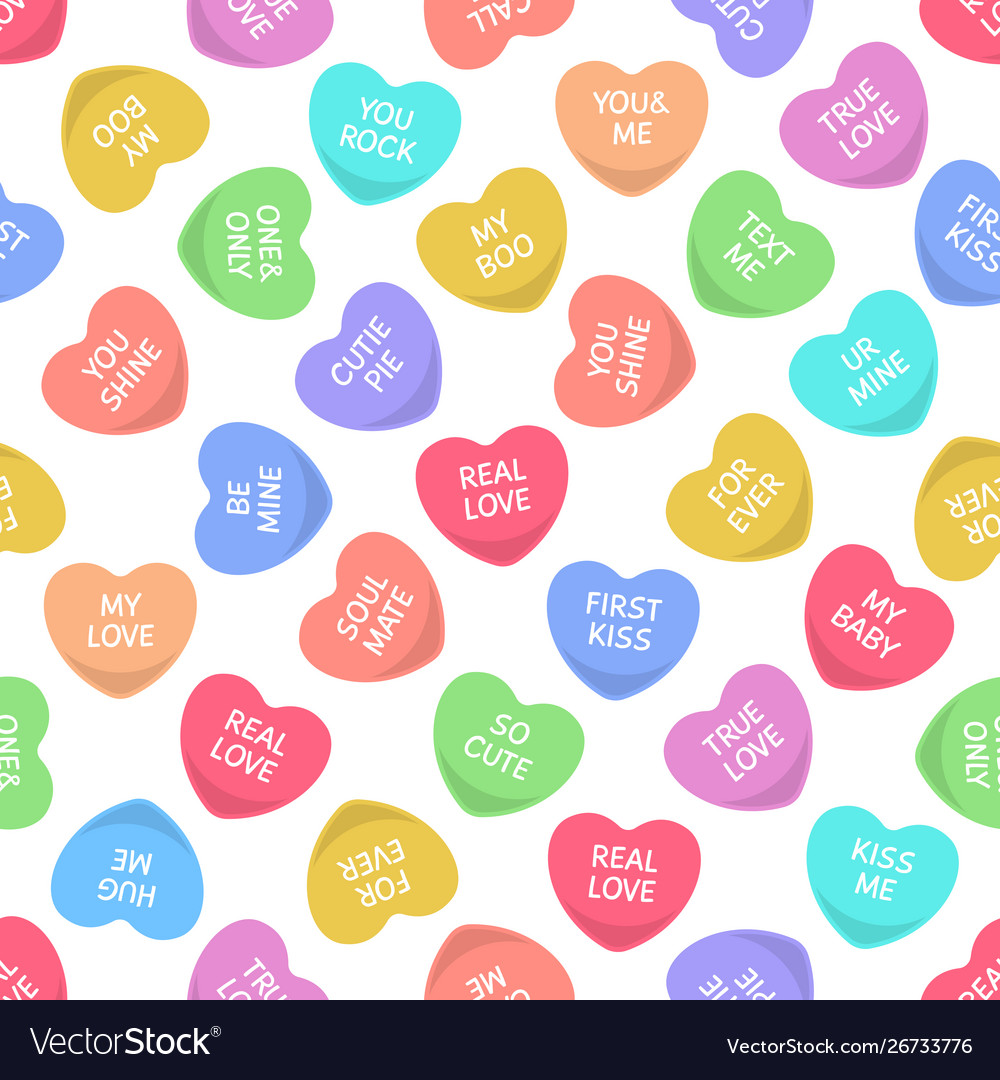 Candy seamless hearts pattern colorful heart