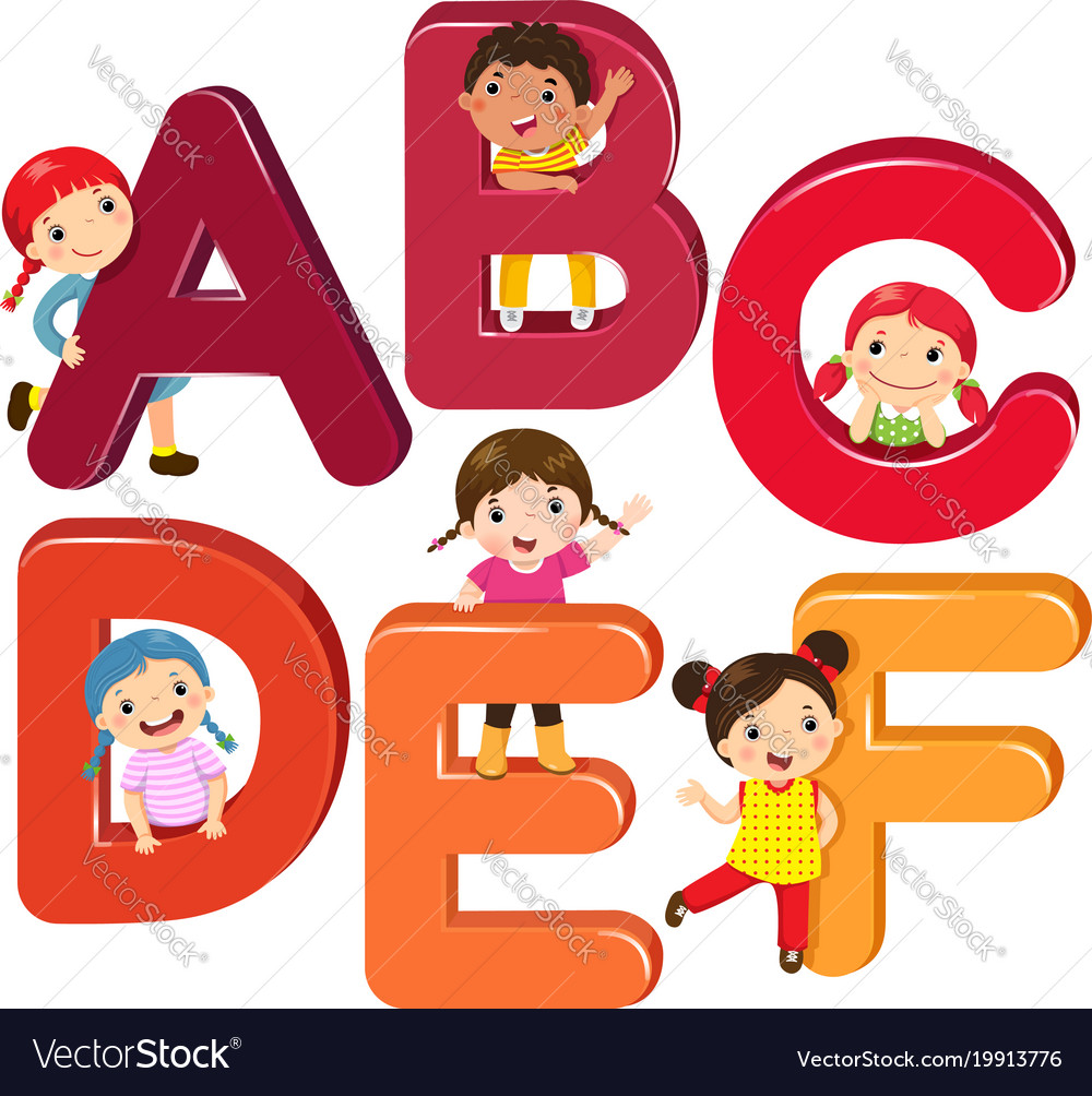 Cartoon kids with abcdef letters vector image