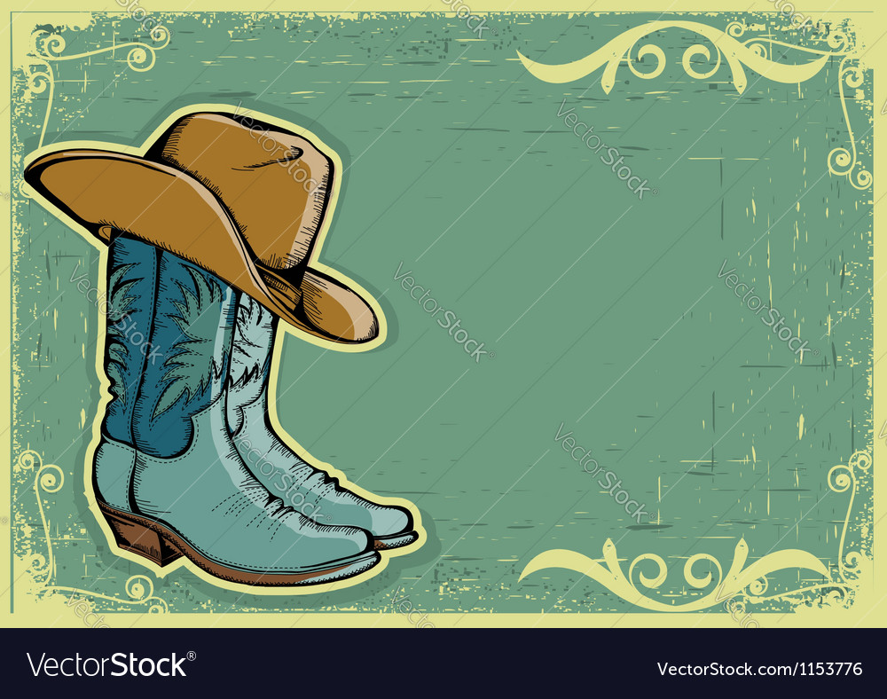 Cowboy boots image with grunge background vector image
