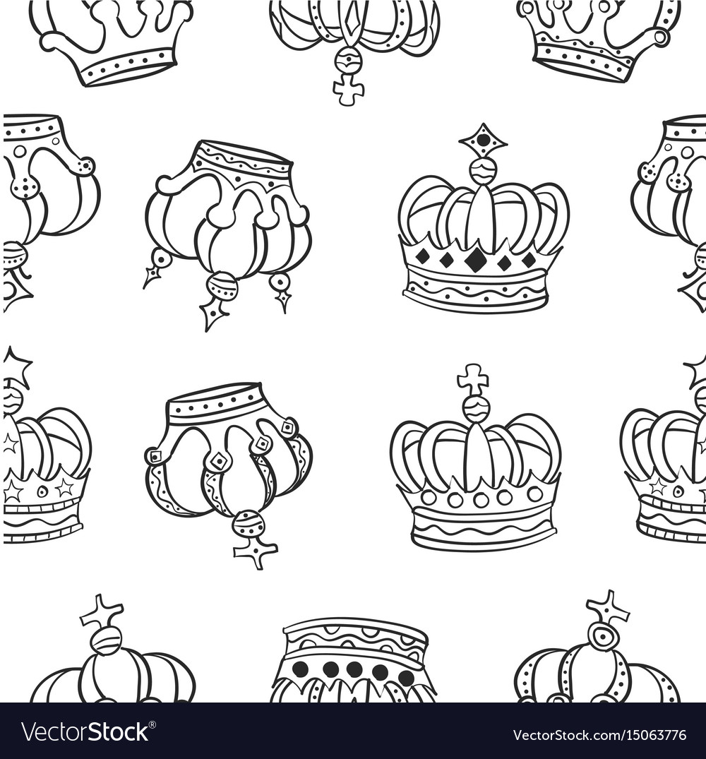 Crown hand draw pattern style