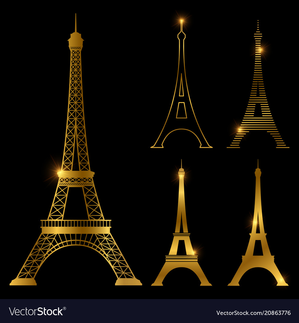 Different golden eiffel tower landmark set vector image
