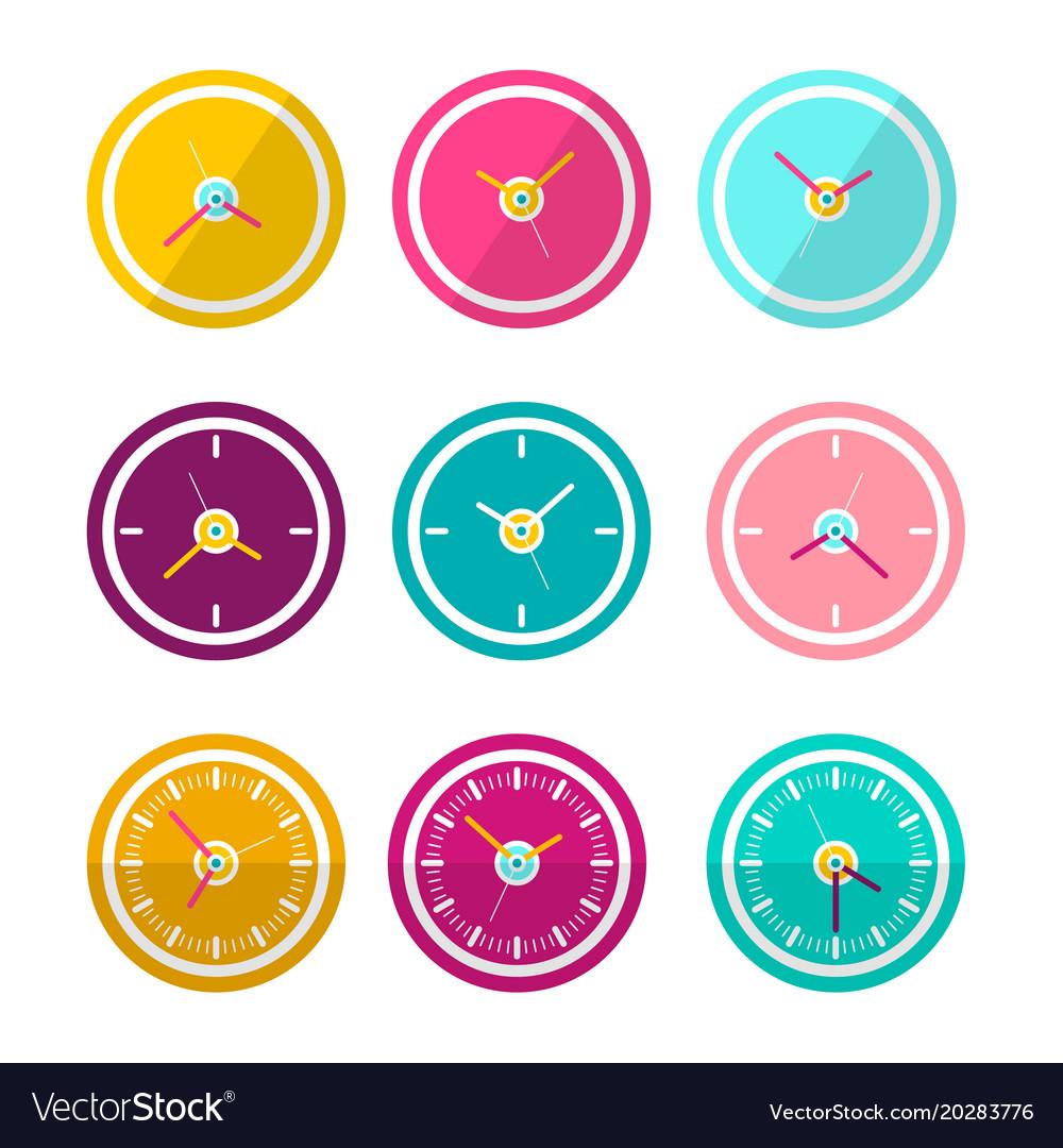 Flat design clock faces set isolated on white