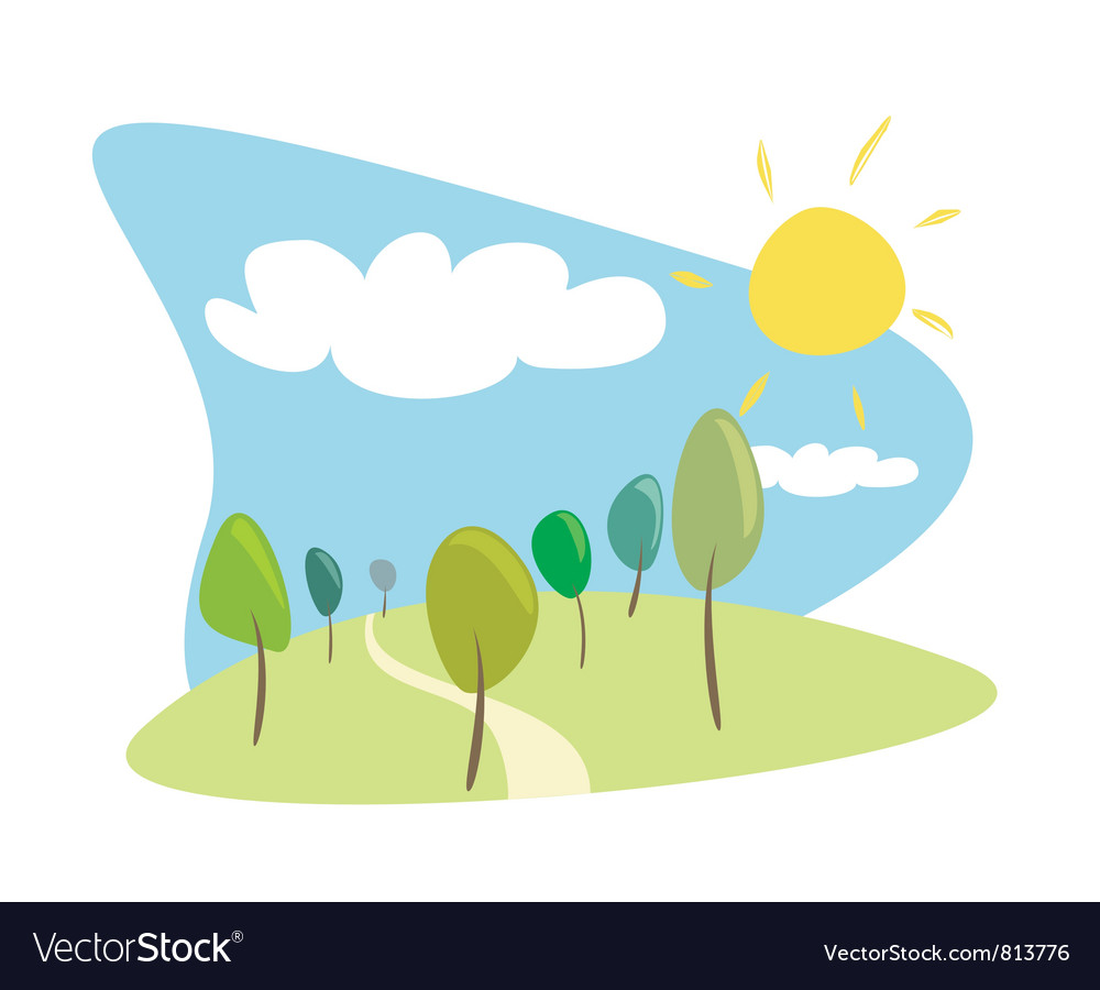 Grove with trees sun and clouds vector image