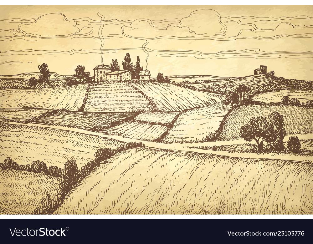 Hand drawn ink sketch rural landscape