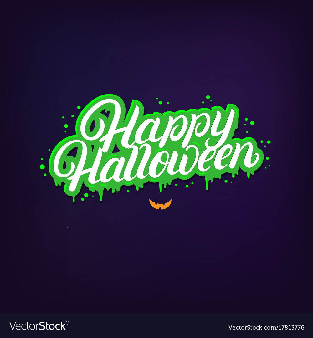Happy halloween hand written lettering quote