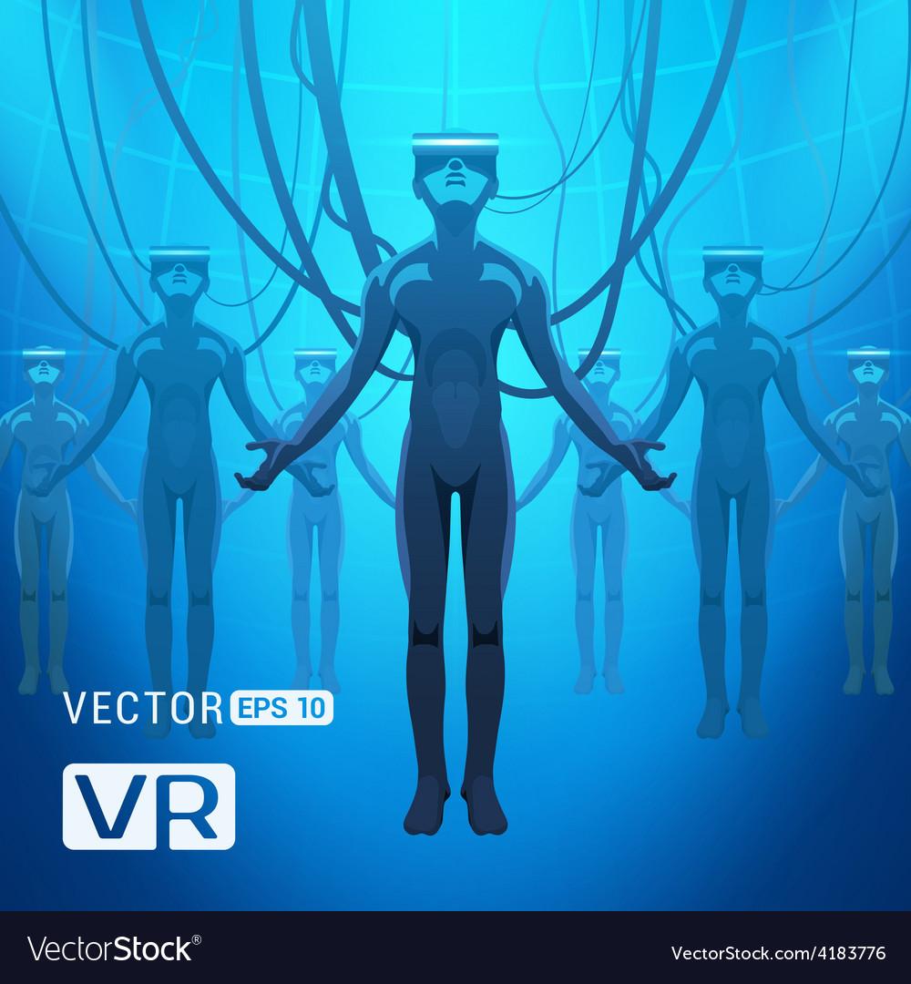 Men in a virtual reality helmet