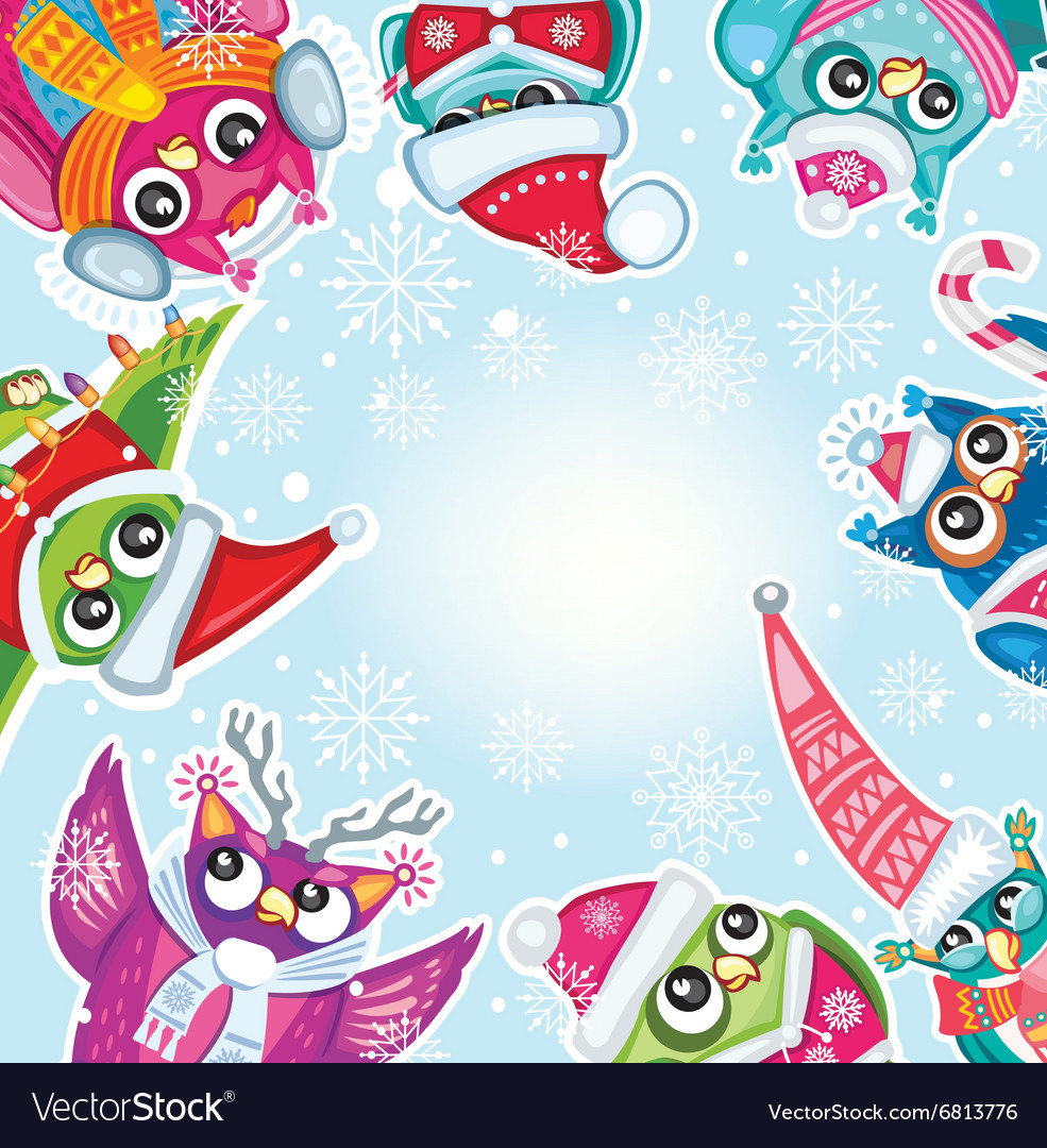 Merry Christmas card with Cute Owls vector image