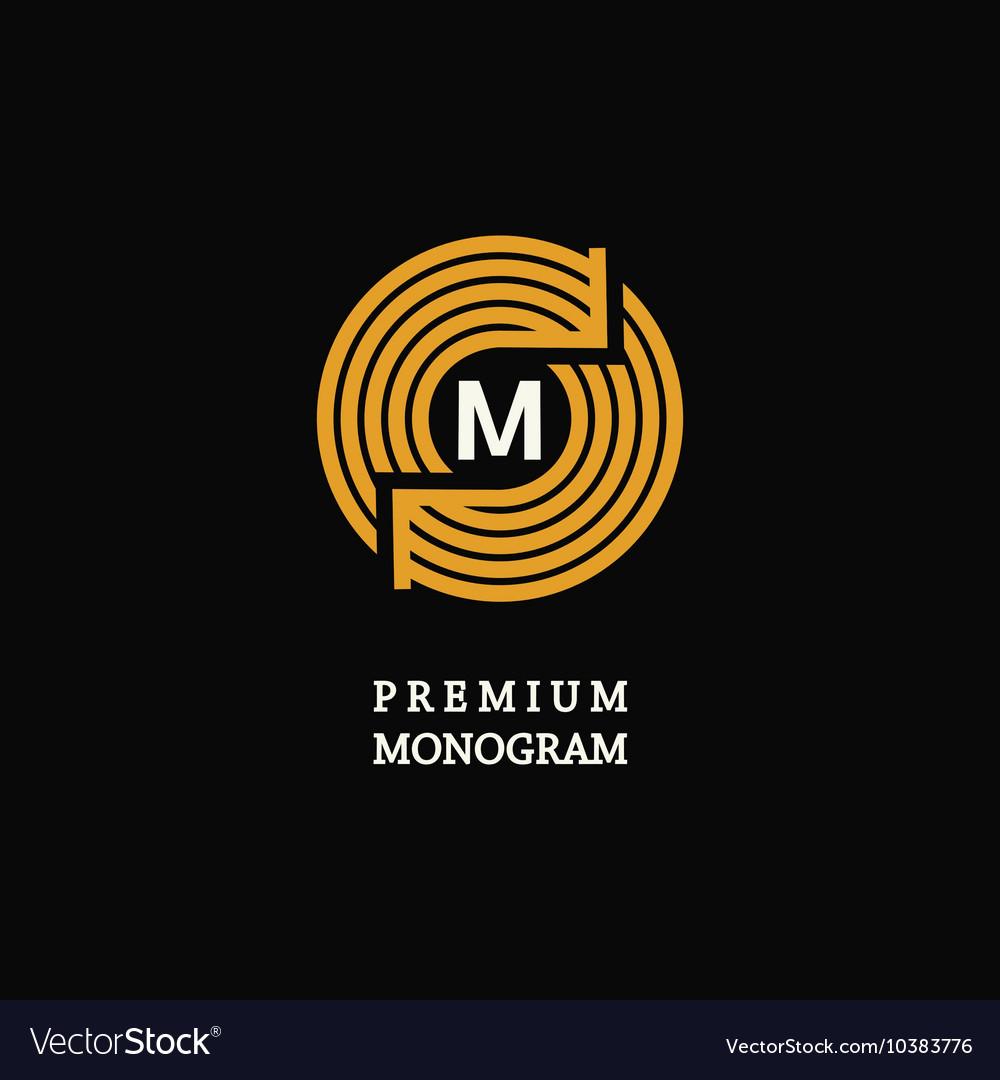 Modern template monogram emblem logo circle of