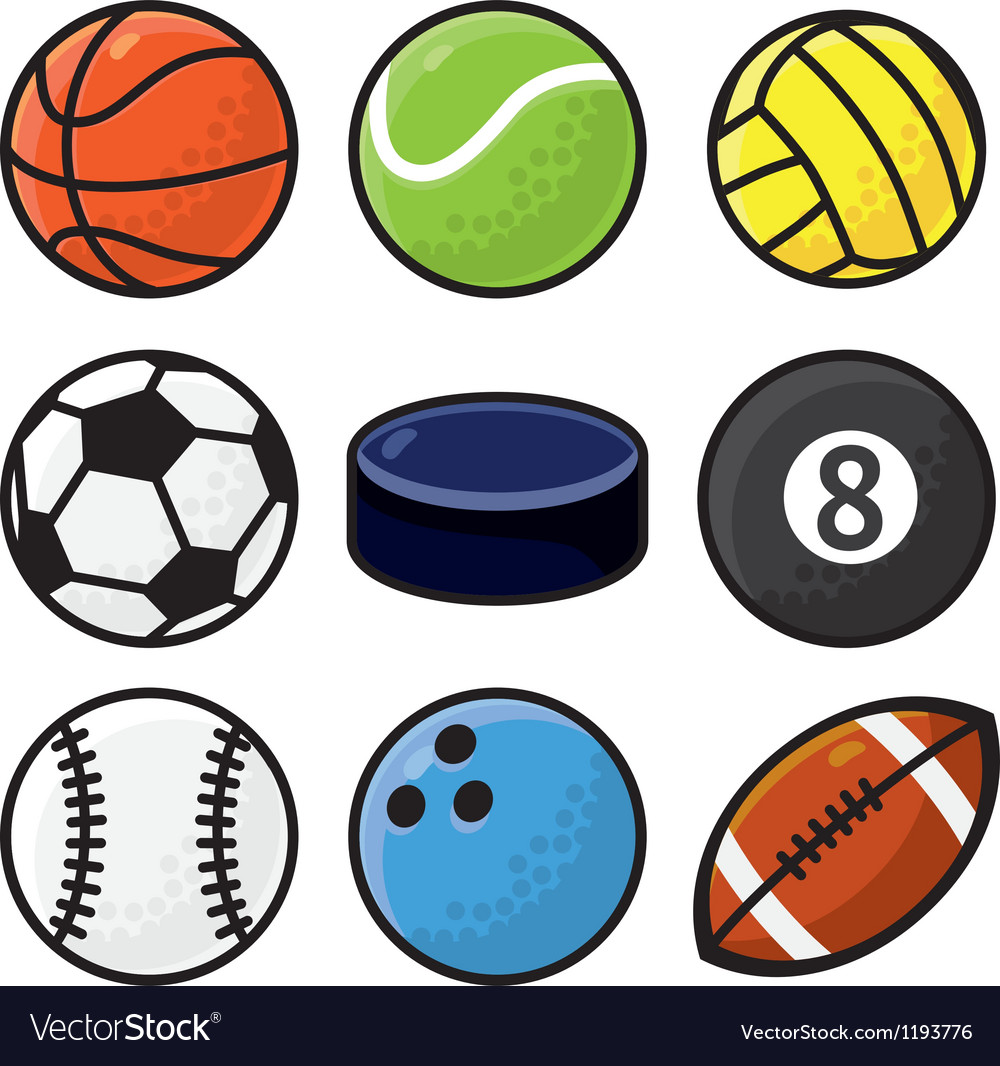 Set With Sport Balls Cartoon Royalty Free Vector Image