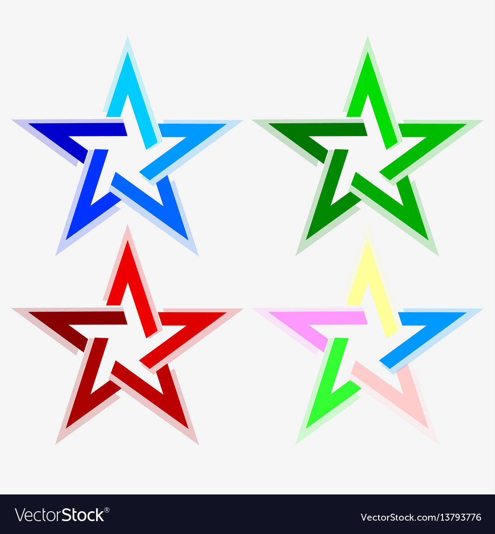 Star abstract look of different colors set